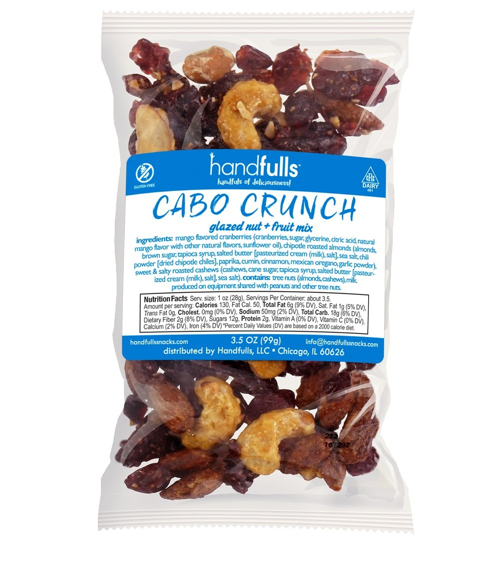 Cabo Crunch, Unexpectedly Tasty Sweet Salty & Spicy Glazed Nut & Fruit Salad Topper or Snack: Sweet & Salty Cashews, Chipotle Almonds, Mango-infused Cranberries, 3.5 oz Bags (Pack of 3)