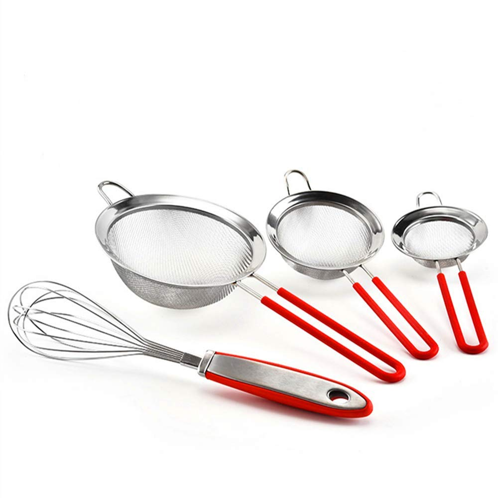 Get Quotations 304 Stainless Steel Flour Sieve Red Handle Hand Held 30 Mesh Double