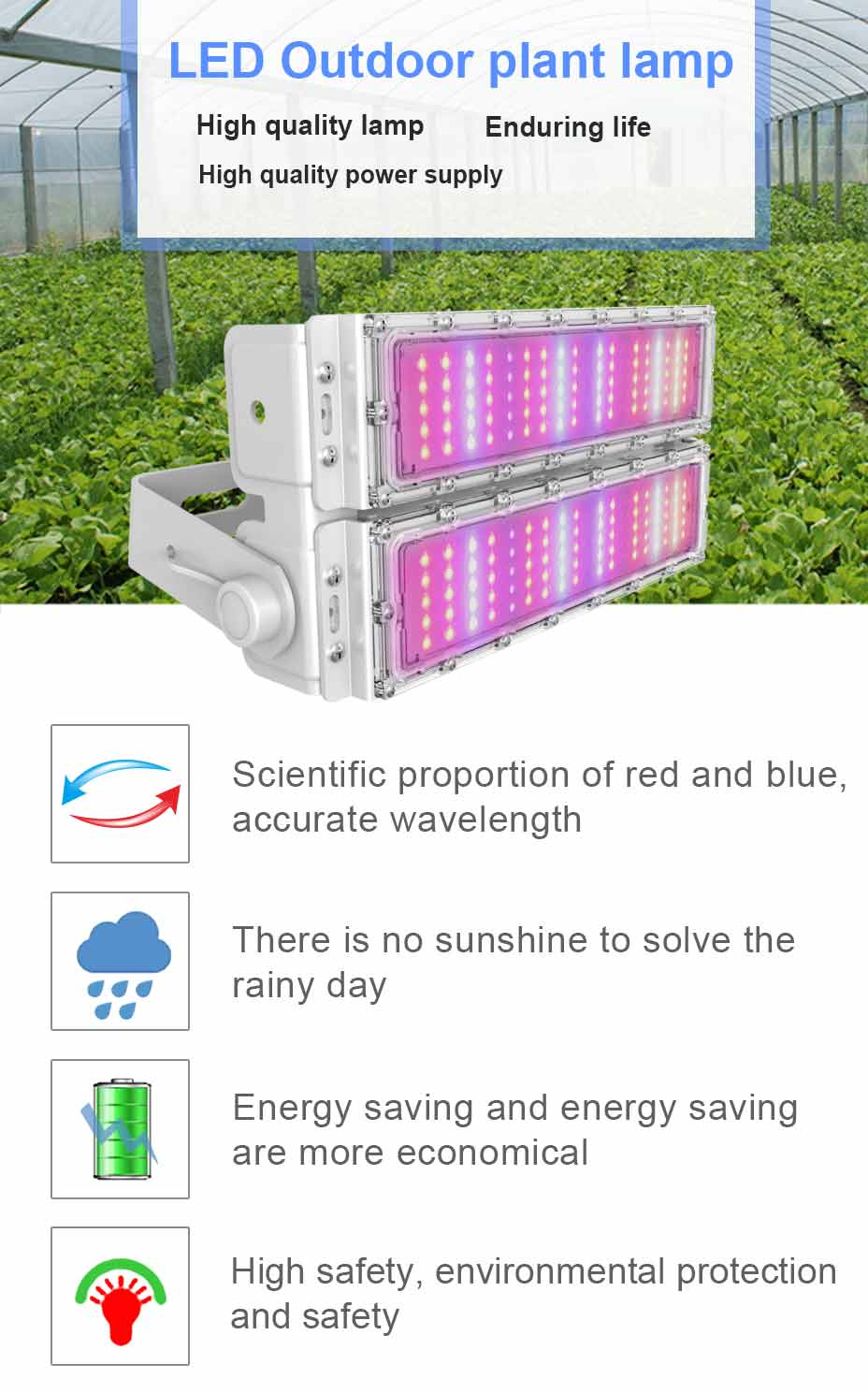 Full Spectrum High Power and High PPFD PAR Value Plants Grow Lamp 300w Waterproof LED Growing Lights