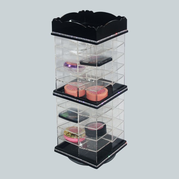 Wholesale custom eyeshadow makeup holder Compact Acrylic Makeup Organizer Spinning clear cosmetic organizer