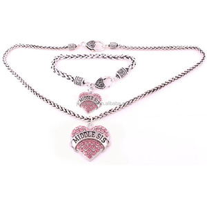 S50123 Yiwu Huilin Jewelry New product Ladies Alloy Bracelet And Necklaces Rhinestone MIDDLE SIS Heart Jewelry set