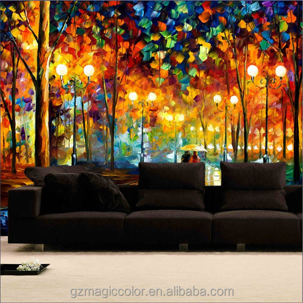 Decorative abstract night sights painting interior design for Define mural painting