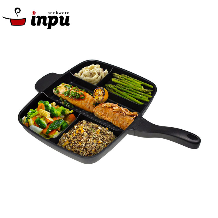 Multi Section 5 in 1 Non Stick Die Cast Master Grill Pan
