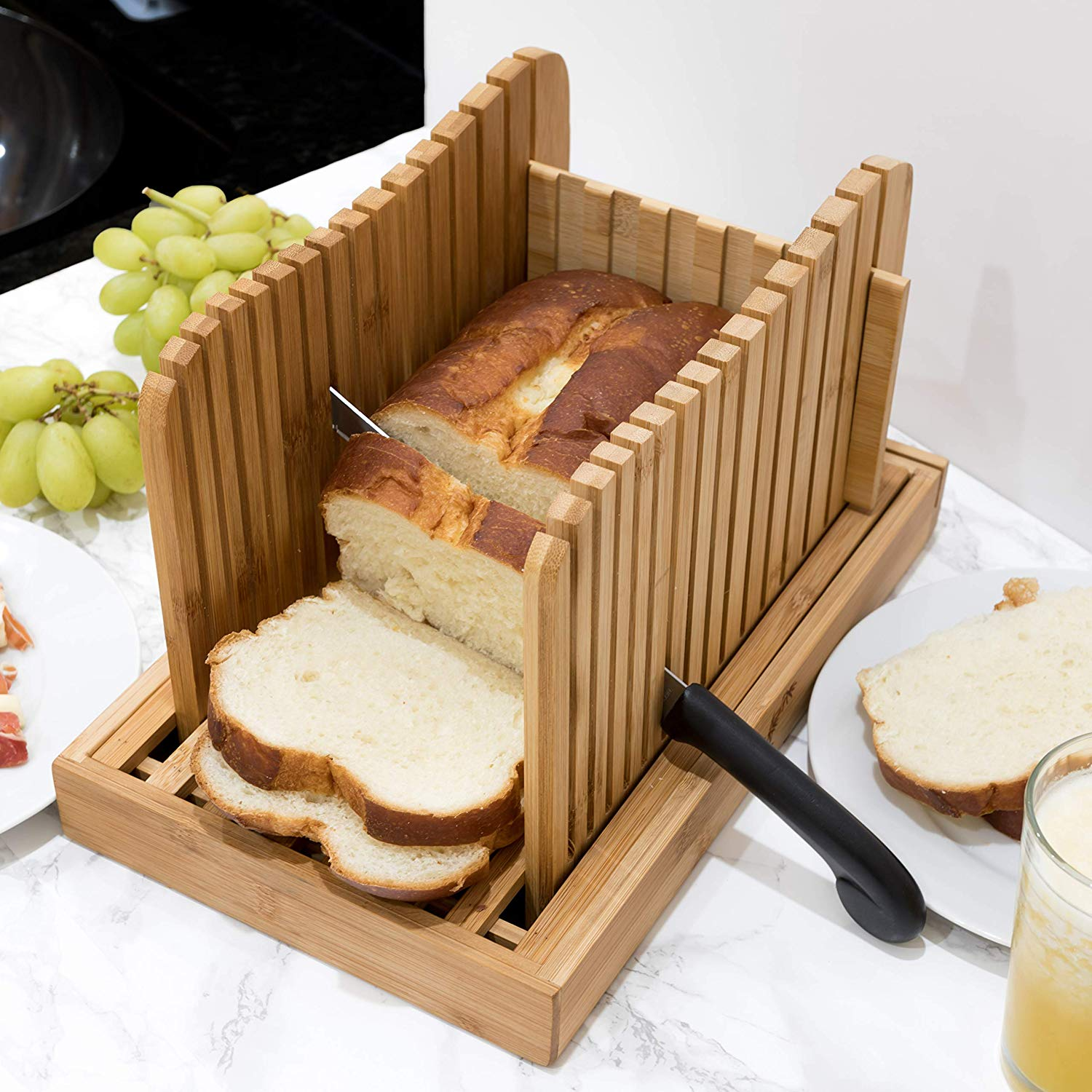 1st Place Premium Bamboo Bread Slicer - Adjustable to your Bread Size - 4 Bread Width Sizes - Compact & Foldable