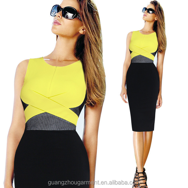 Vfemage Womens Elegant Summer Mesh Sleeveless Colorblock Wear To ...