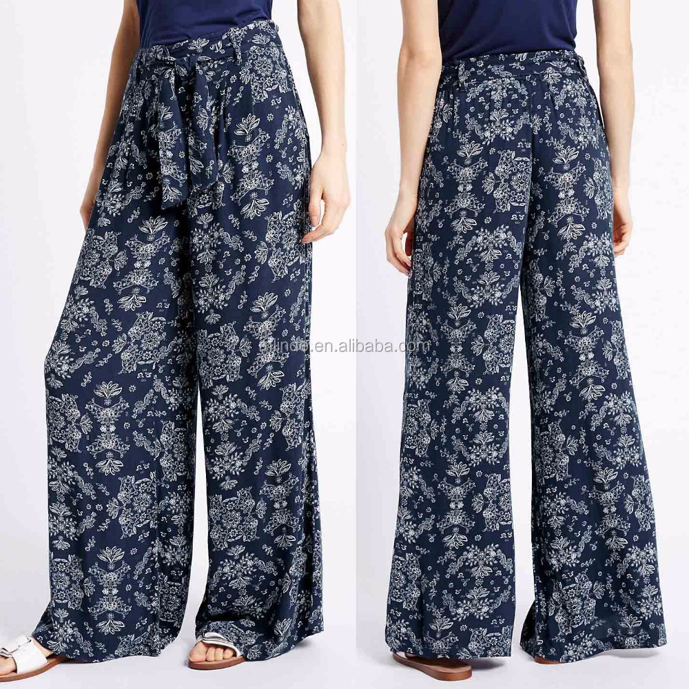 Harem Pants Wholesale Printed Crepe Wide Leg Trousers Women Fashion High Waisted Wide Leg Trousers
