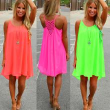 Mujeres beach dress fluorescencia verano vestido de gasa mujer mujeres del estilo de 2016 veranos vestido vestido tallas grandes ropa