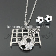 """Goal"" Rhinestone Soccer Necklace Set jewelry"