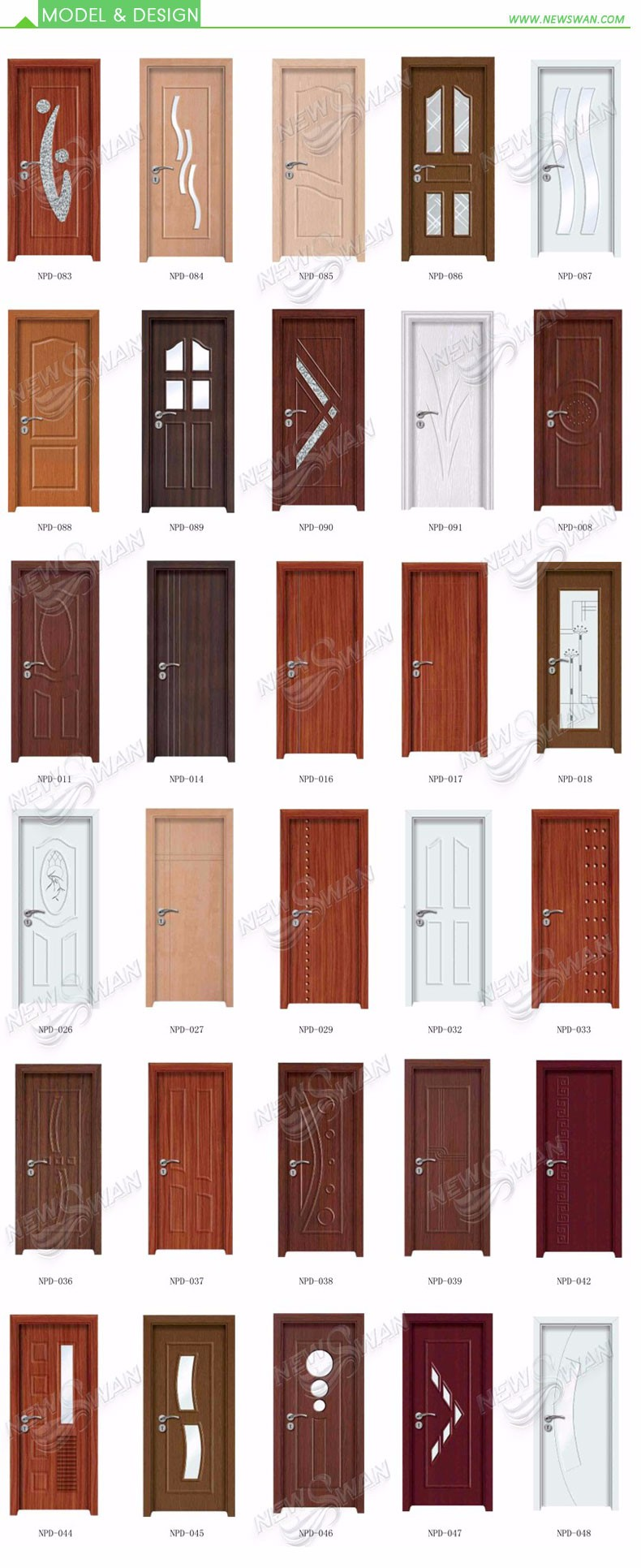 Cheap PVC Bathroom Door Price / Interior Door with Frosted Glass inserts