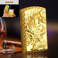 Personality Flying Dragon Relief Electroplating Metal Blue Flame Gas Lighter sanqiao 521