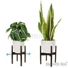 Verstelbare Plant Stand Mid Century Moderne voor Indoor Outdoor Planters 100% <span class=keywords><strong>Bamboe</strong></span>