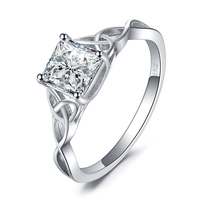 JewelryPalace Celtic Knot 1.7ct Princess Cut Cubic Zirconia Solitaire Engagement Ring 925 Sterling Silver