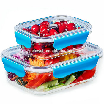 Promotional Portable Stackable High Borosilicate Glass Food Storage  Container With Tritan Lid