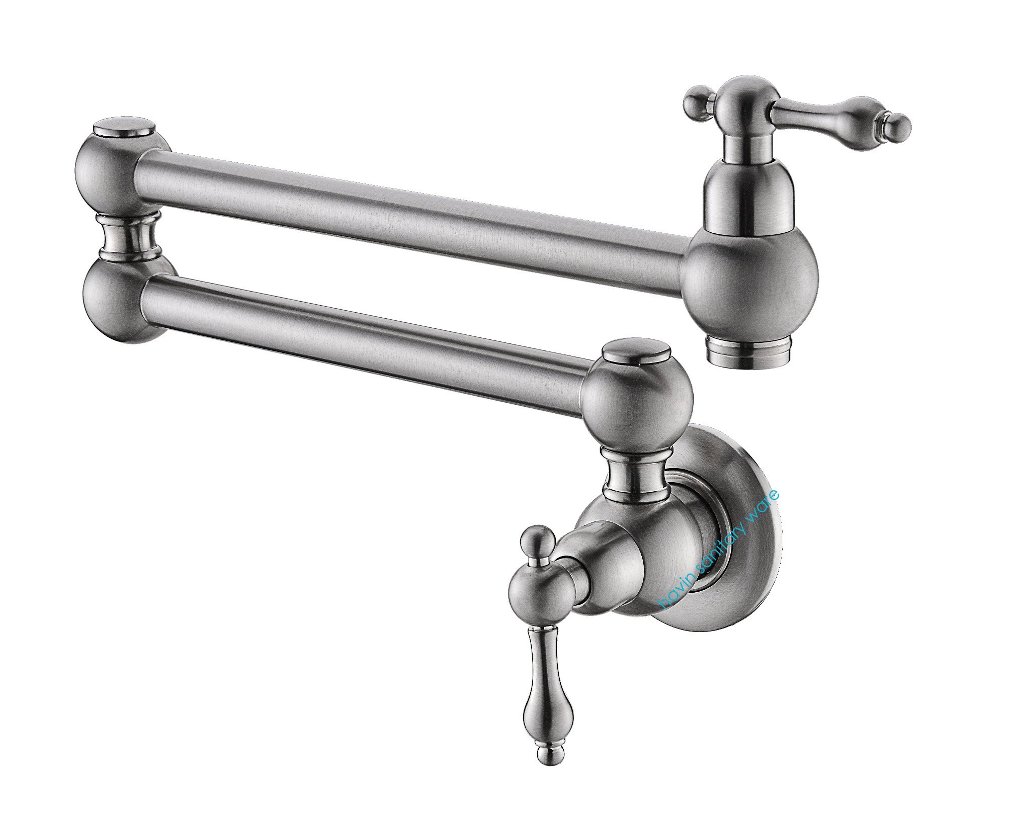 Havin Pot Filler Folding Stretchable Double Joint Swing Arm Brushed Nickel Wall  Mount Kitchen Faucet,
