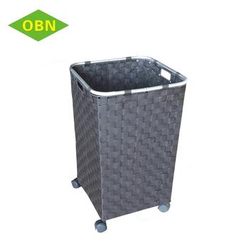 nylon straps woven laundry hamper wheeled laundry basket. Black Bedroom Furniture Sets. Home Design Ideas