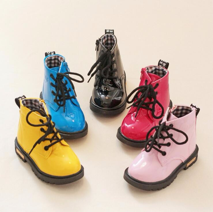 Kids PU Leather Boots Teen Boys Girls Spring Shoes Children Martin  Motorcycle Boots Chaussure Enfant Waterproof Ankle Rain Boots - us316 2213593d910f