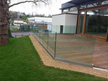 Popular outdoor u channel tempered glass hand railings buy fiberglass balustrade handrail - Advantage using tempered glass fencing swimming pool balcony deck ...