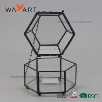 Metal Frame Geometric Small Glass Jewelry Trinket Storage Box Buy