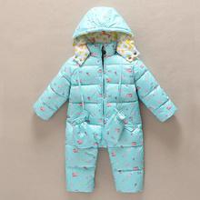 Warm Winter Children Jumpsuit Baby girls boys Rompers hooded toddler snowsuit 90% duck down kids overalls 12M/18M/24M/3T