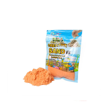 Yiwu Bobao <span class=keywords><strong>Speelgoed</strong></span> Fabriek Levering Goedkope Oranje 150G Promotionele Supermarkt Mall Mooie Verpakking Kids Puffy Vloeiende Modellering Magic Zand