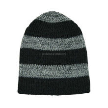 Cold Weather Hat Winter Wool Plain Knitted Beanie Hat With Strips
