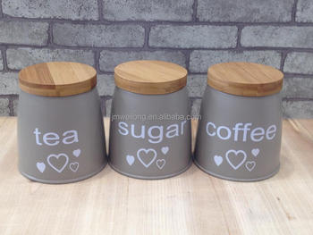 Set of 3 Metal Food Storage Canister Jar Kitchen Containers with Bamboo Lid & Set Of 3 Metal Food Storage Canister Jar Kitchen Containers With ...
