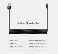 2017 New V8 I5 Type c Spring Cable Flexible and stretch 8pin to USB 2.0 Charger spring data Cable