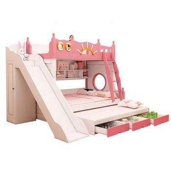 Bunk bed with slide cheap kids bed modern bedroom furniture pink M6
