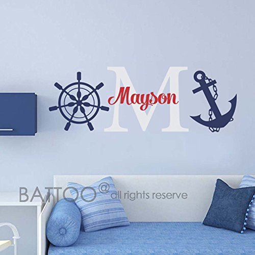 BATTOO Personalized Anchor Name Decal - Nautical Name Wall Decal - Personalized Boy Name Wall Decal Nursery - Underwater Decal Boys Room Decor