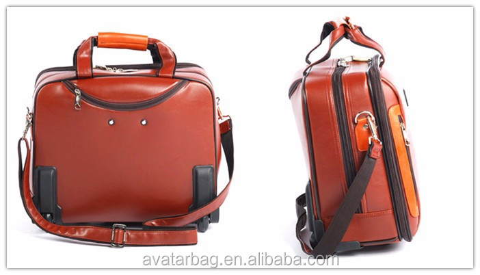 Genuine Leather Real Leather 15 6 Quot Man Laptop Trolley