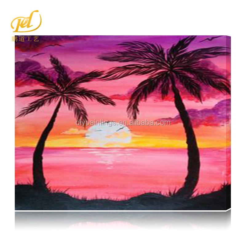 Diamond Painting 2 5mm Square Diamond Landscape Coconut Tree