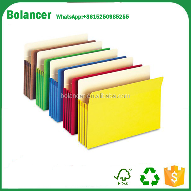 Bolancer 3 1/2'' Expansion Colored File Pocket, Straight Tab