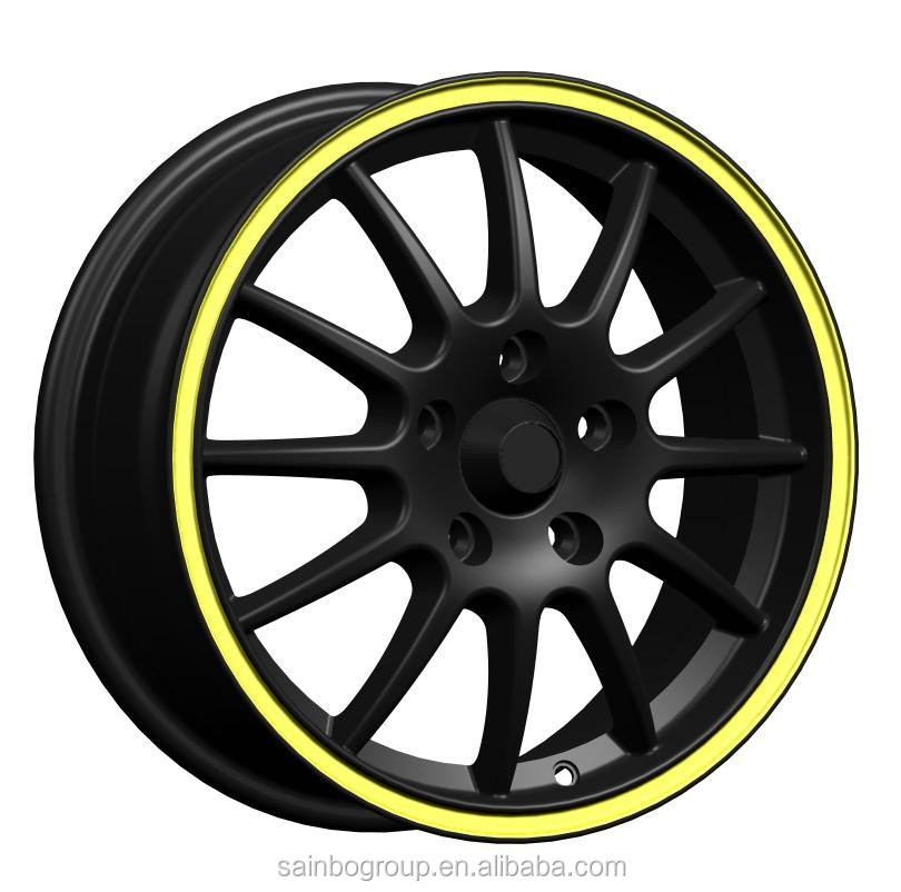 Black Yellow Line Alloy Wheels 5x120 Car Rims Z220