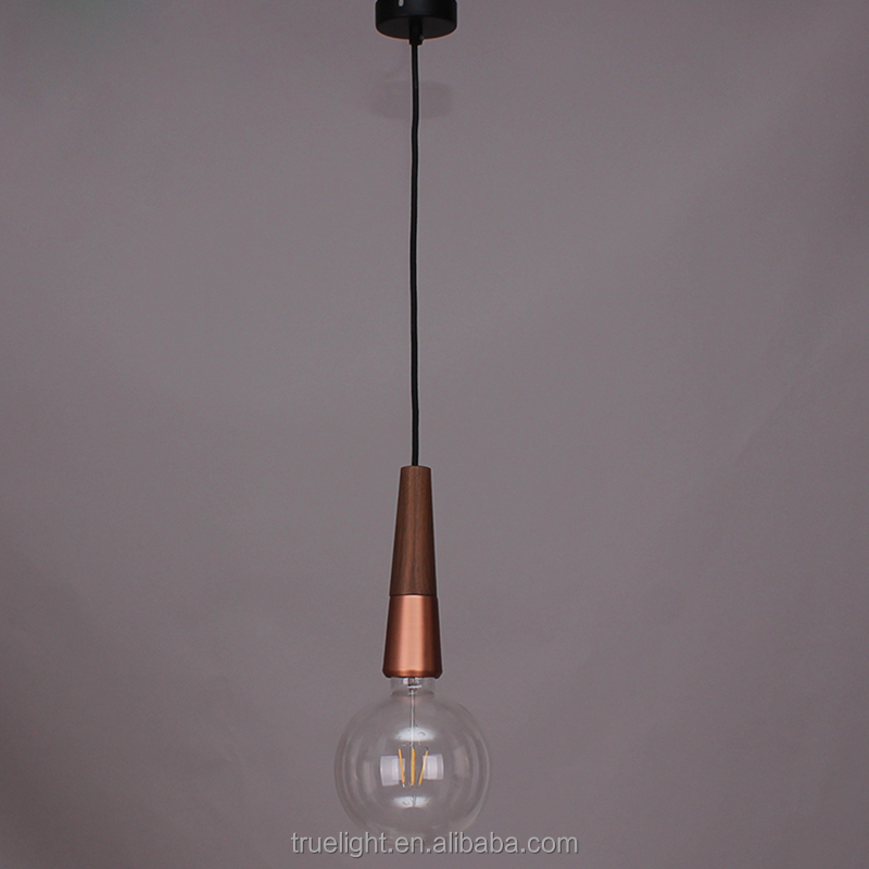 E27 metal and wood chandelier lamp christmas decoration in copper color