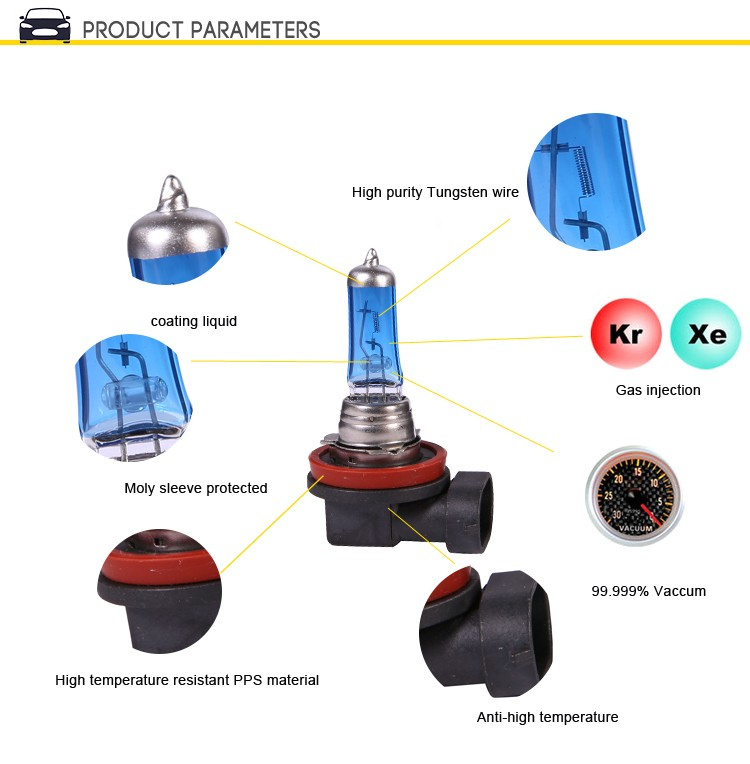 H8 12V 35W 3000K PGJ19-1 Quartz Glass Car HeadLight Auto Halogen Lamp,Halogen Bulb