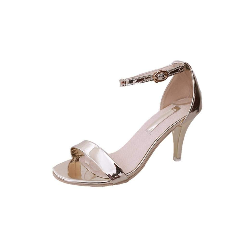 Fashion Women Ladies Summer Buckle Sandals High Heels Block Peep Open Toe Thin Heel Shoes