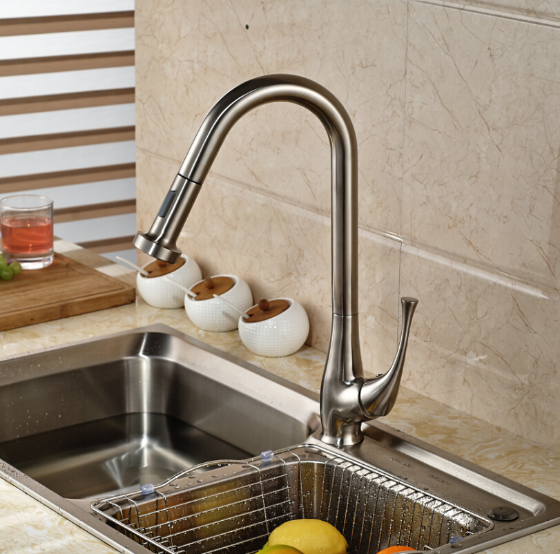 buy brief deck mounted stainless steel nickel brushed kitchen faucet swivel. Black Bedroom Furniture Sets. Home Design Ideas