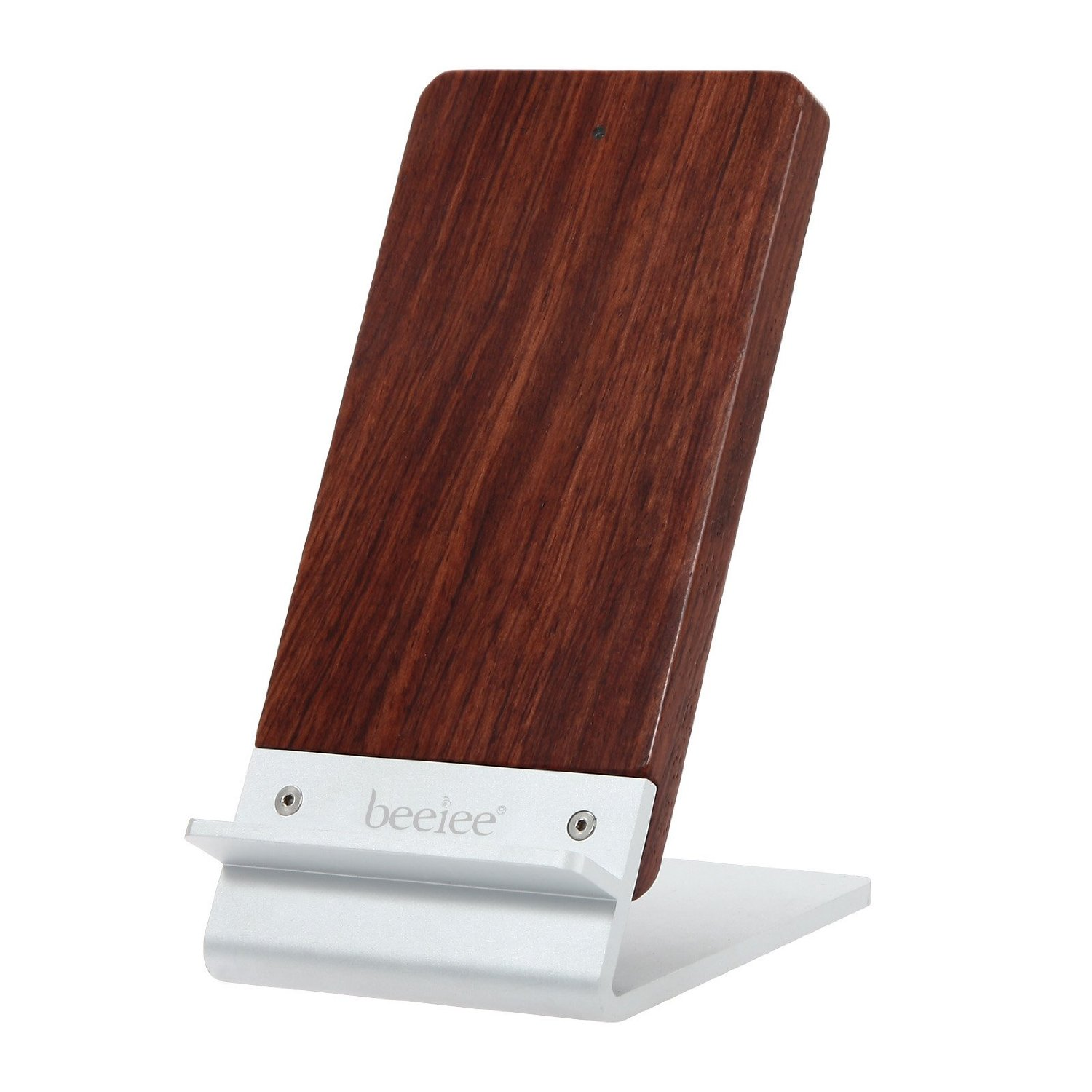 Wireless Charging Stand, Beeiee 3-Coils Rosewood Aluminum Alloy Qi Phone Wireless Charger Stand Pad for Samsung Galaxy S6 / S6 Edge,Galaxy S7 / S7 Edge,Galaxy S8,Note 5