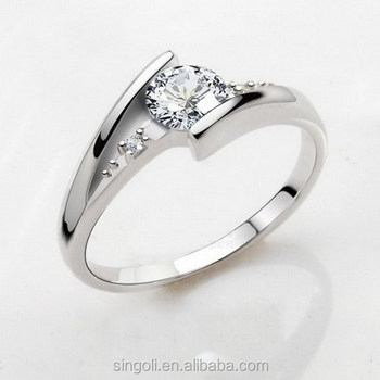 Gorgeous Love Symbol Happiness Rings Flasing Diamond Wedding Bands