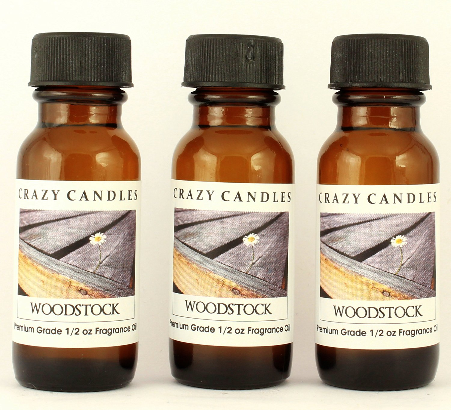 Woodstock 3 Bottles 1/2 Fl Oz Each (15ml) Premium Grade Scented Fragrance Oil By Crazy Candles (Patchouli, Sandalwood, Musk and Bergamot)