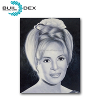 100% handpainted beautiful woman portrait black and white painting on canvas