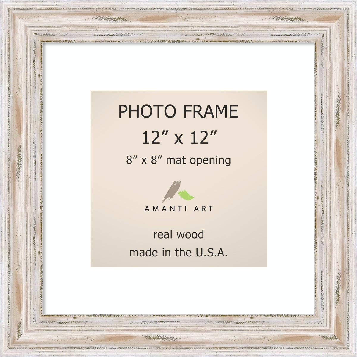 Amanti Art Picture Frame, 12x12 Matted to 8x8 Alexandria White Wash Wood: Outer Size 15 x 15