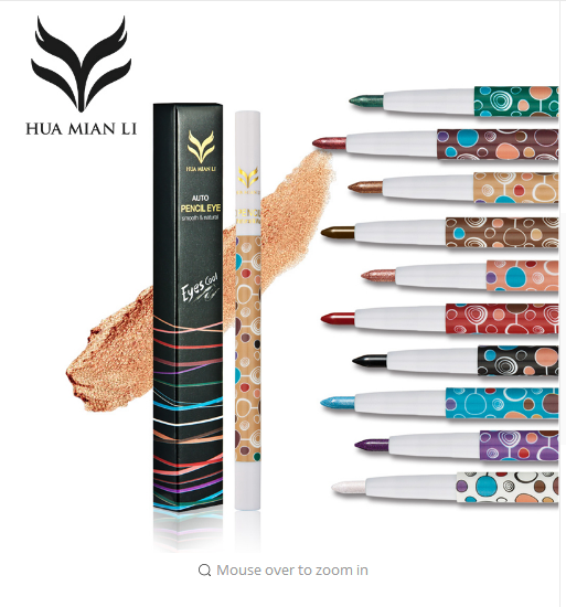 HUAMIANLI Brand 10 Colors Shimmer Matte Eye Shadow Pencil Makeup Glitter Pigment Highlighter Eyeshadow Pen Waterproof Cosmetics