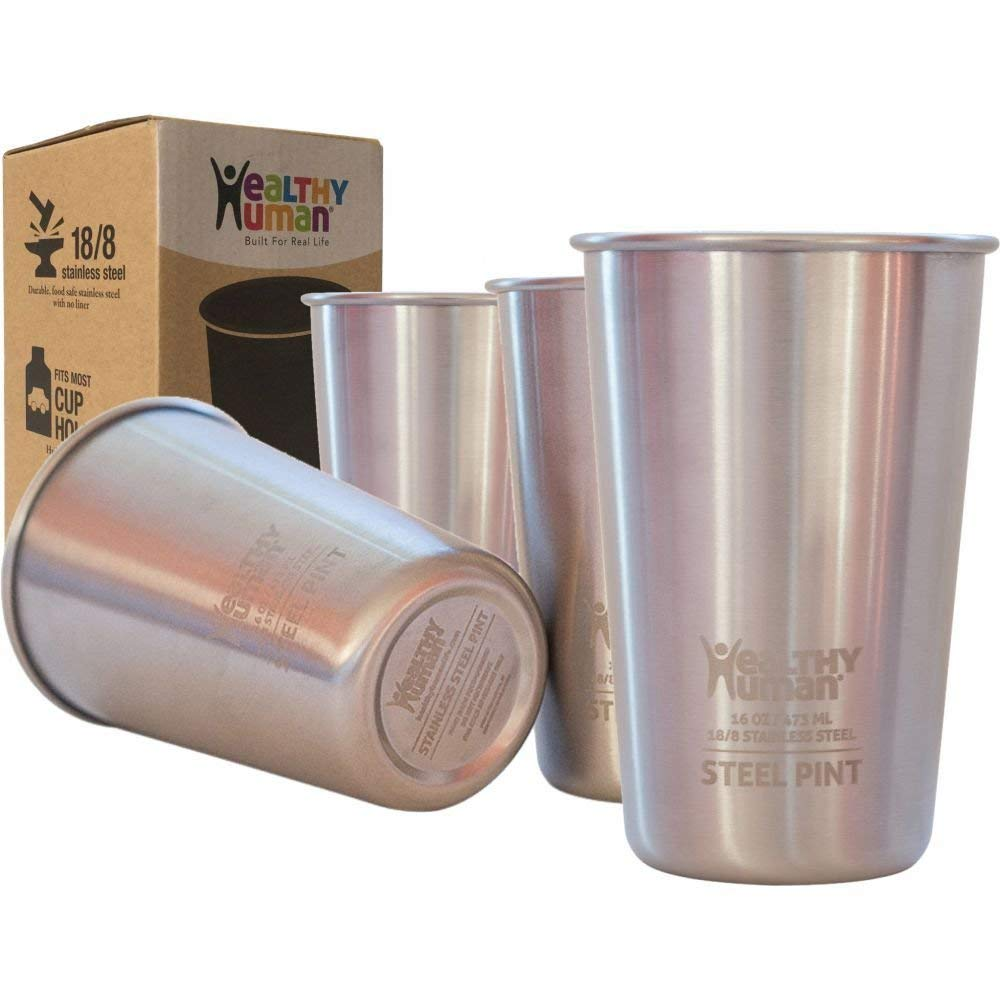 Healthy Human 4 Pack 16oz/475ml Stainless Steel Cups - Ideal Beer Pints, Iced Tea Tumblers, Wine & Water Mugs, Camping Cup - Bar Set. - Classic Style