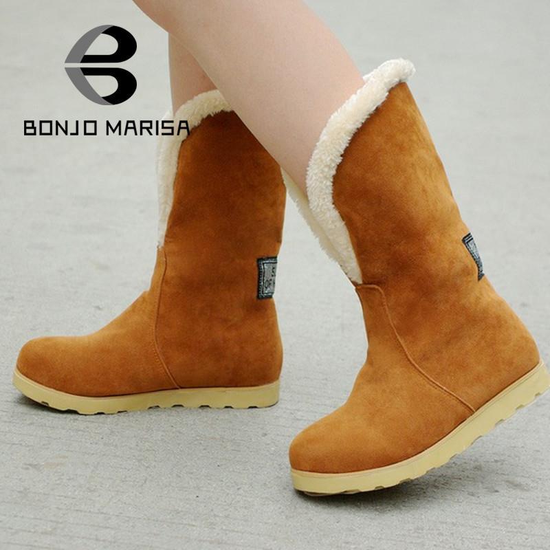534ba7a13fb7 Снегоступы 2016 большой размер 34 - 43 мода женщин теплые сапоги плоские  каблуки круглый носок платформы весна зима средний-икры сапоги меховые  ботинки