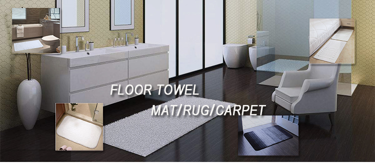 2019 hot sell durable luxury Anti slip soft Embroidery coil in cotton fabric bath room foot mat