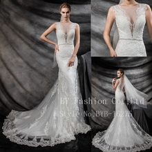 Sexy Ivory V Line Beading Alibaba Wedding Dress 2016 Lace Mermaid Bridal Gown