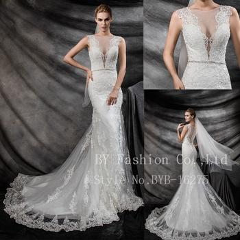 Sexy Ivory V Line Beading Alibaba Wedding Dress 2016 Lace Mermaid Bridal Gown