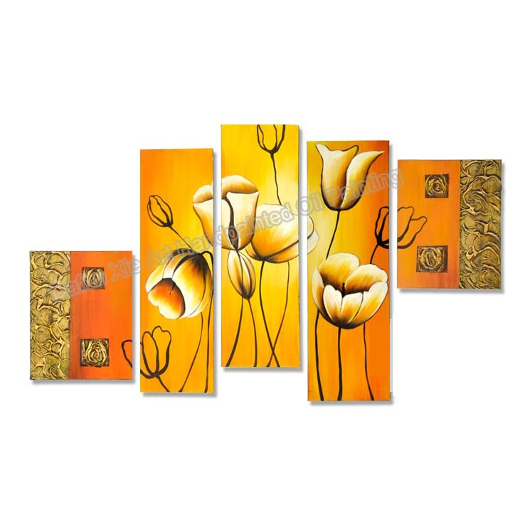 Dafen Art new modern decorative Beautiful Tulip Continental Flower on canvas handpainted oil painting 5 pieces