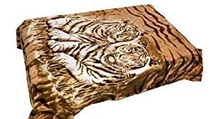 Vivalon Brown Tigers Thick Mink Plush Korean Style Queen Size Luxury Blanket - By Solaron